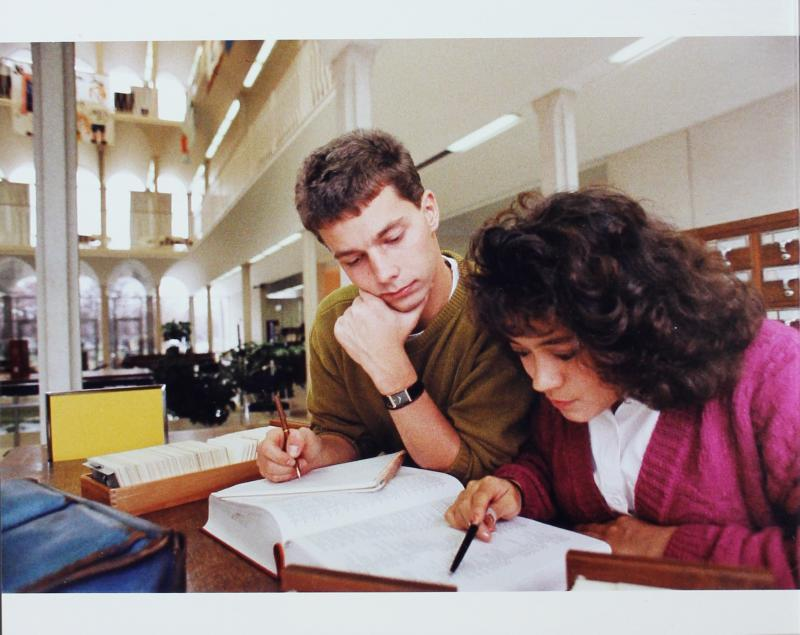 Students Using the Card Catalog at Butler University Irwin Library