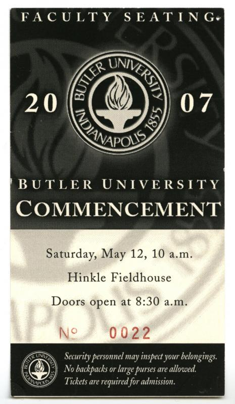Faculty Ticket for 2007 Commencement