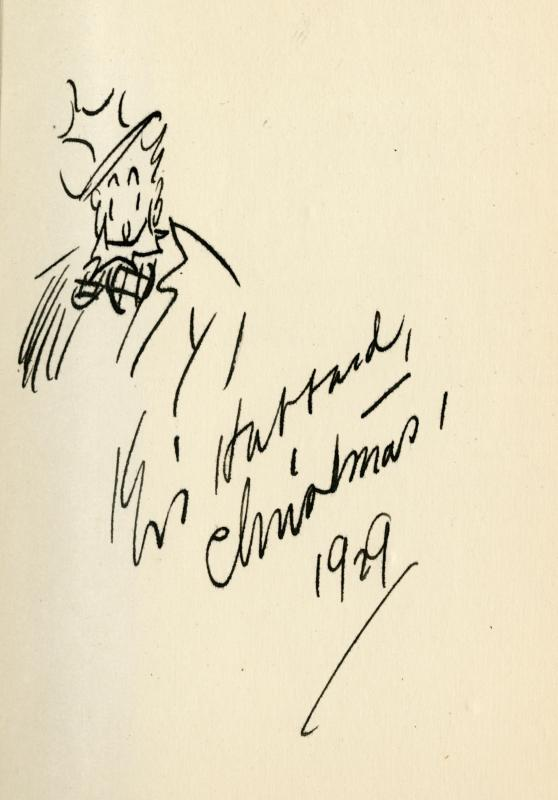 Kin Hubbard drawing of his Abe Martin character for Christmas 1929 in <em>Abe Martin's Town Pump</em>
