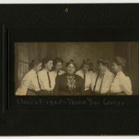 Photograph of Eliza A. Blaker (center) and the students of the Teachers College of Indianapolis' class of 1905, third year course