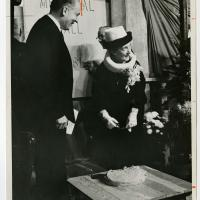 Photograph of Edith Whitehill Hinkel Clowes at the cornerstone laying ceremony for Clowes Memorial Hall