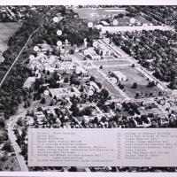 Aerial View of Butler University from the South with Buildings Labeled