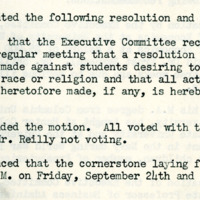 Board minutes lifting the quota on African American students, August 17, 1948