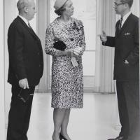 Harry T. Ice and Clementine Tangeman Speaking with a Man at the Dedication Ceremony for the Irwin Library at Butler University