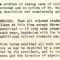 Board minutes instituting the quota on African American students, July 13, 1927
