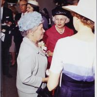 Elsie Irwin Sweeney Talking with Guests at the Dedication of the Irwin Library at Butler University