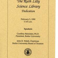 Program from the Ruth Lilly Science Library dedication