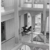 View Looking Up Into the Balconies and Atrium at Butler University Irwin Library