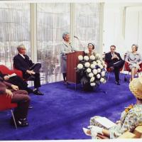 Elsie Irwin Sweeney Speaking at the Dedication Ceremony for the Irwin Library at Butler University