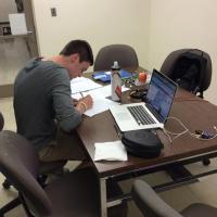Student Studying in a Study Room at Irwin