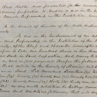Board minutes creating the Demia Butler Chair, March 10, 1869