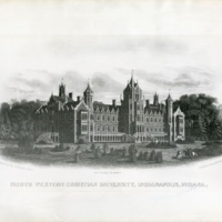 Architect's drawing of the original building for North Western Christian University